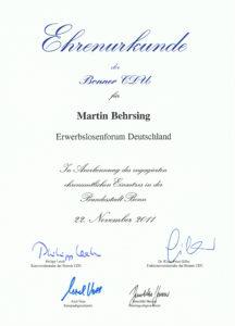 Ehrenurkunde der Bonner CDU